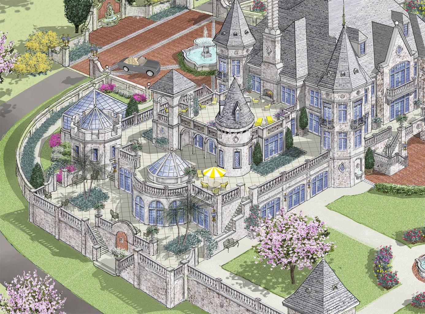 Showcase luxurous modern european castle style home for Modern castle house plans