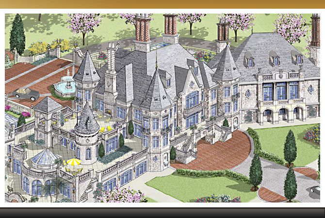 European Castle : Custom luxury castle home - European castle-inspired luxury mansion
